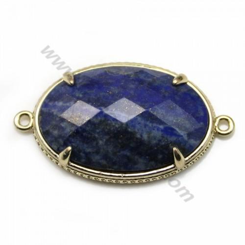Intercalaire en lapis lazuli, sertie en métal, de forme ovale, 20*30mm x 1pc