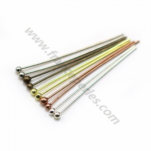 Ball Head pin silver tone x 24mm x 50pcs