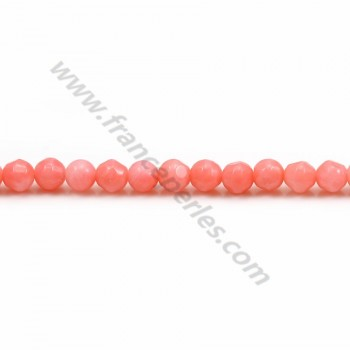 Colored Orange Faceted Round Sea Bamboo 3mm X 40cm