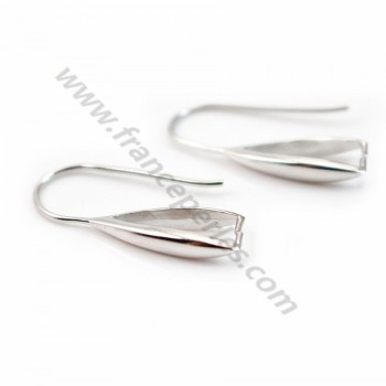 Earwires with attach pendant, 925 Streling silver rhodium,22mm x 2pcs