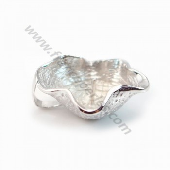 Pendant & shell, silver 925 rhodium,for half- drille x 1pc