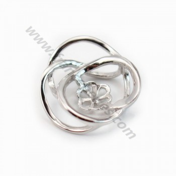 Pendant & flower, silver 925 rhodium,for half- drille x 1pc