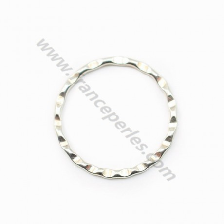 925 Sterling Silver, Hammered  Closed Round Rings 20x1.5mm  x 1pc