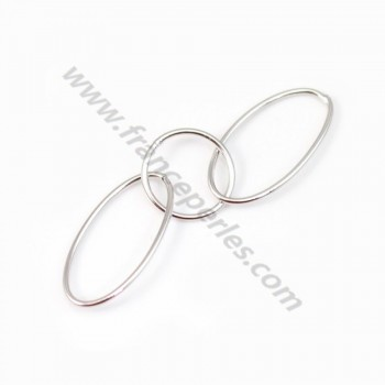 925 Silver Rhodium, Triple Oval & Round Rings