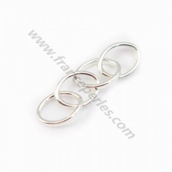 925 Silver, Four Oval Rings,   8x6mm,  x 2pcs