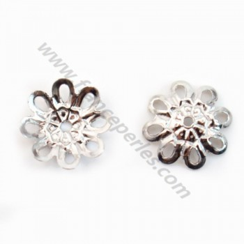 925 Sterling Silver rhodium Flower Saucers 8mm x 4pcs