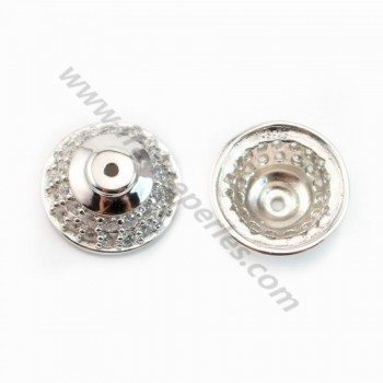 925 Sterling Silver Rhodium Saucers with zircon 13mm x 1pc
