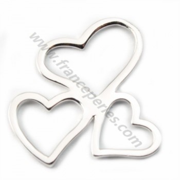 Silver  925 openwork three heart intercalary  20mm X  1pc