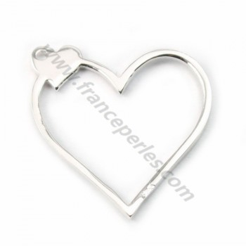 Silver  925 openwork heart intercalary  20*20mm X  1pc