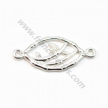 Intercalary branch of bamboo,sterling silver 925, 11x25mm x 1pc
