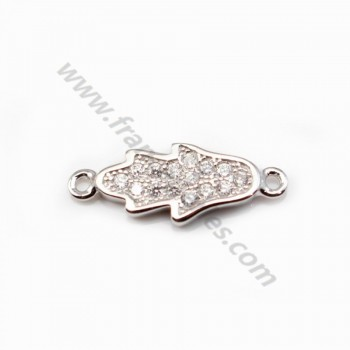 925 Sterling Silver rhodium Bridge hand with zirconium  6.5x16.5mm  X 1 pc