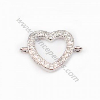 Spacer silver 925 and strass Heart 12.5x19mm x 1pc