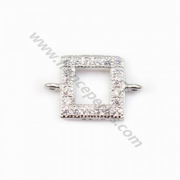 Spacer silver 925 and strass Square 7x10mm x 1pc