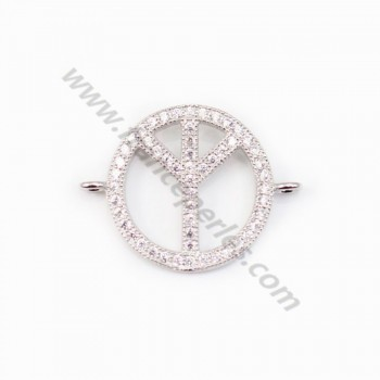Spacer silver 925 and strass Peace and Love 15.5x20mm x 1pc