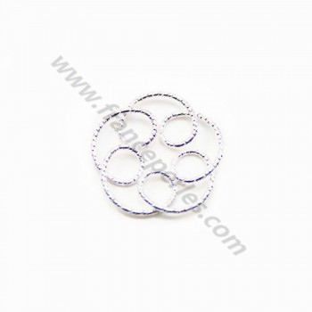 925 Silver Rings , flower, hammered,20.5mm x 1pc