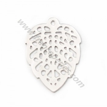Silver 925 openwork leaf intercalary 11x15mm X 2pc
