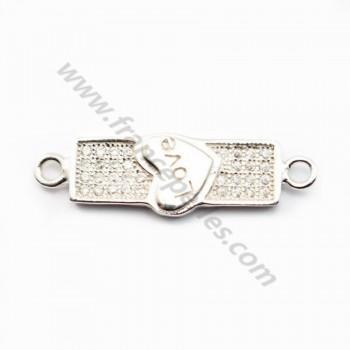 Rhodium 925 sterling silver & cz love spacer 25x7.5mm x 1pc