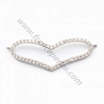 Sterling Silver 925 rhodium  BARETTE HEART& zircons 42*14.5mm with ring 2.5mm X 1 pc