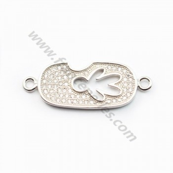 Sterling Silver 925 rhodium& zircons 30*11*2.5mm X 1 pc