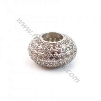 Rondelle with strass rhodium silver 925 6x11mm x 1pc