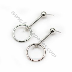 Ear studs, with pendant ring, in 925 rhodium silver, 35mm x 2pcs