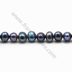 Dark purplish round freshwater pearls 7-8mm x 6pcs