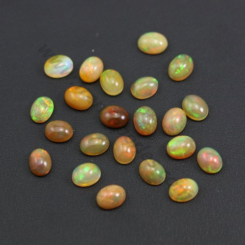 Ethiopian opal in cabochon, multicolored, in oval shape 7 * 9mm x 1pc