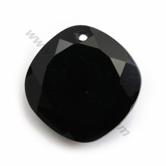 Pendant in agate of black color, in shape of a faceted rhombus, 15mm x 1pc