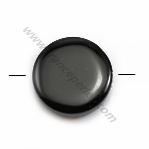 Agate de couleur noire, de forme ronde plate, 16mm x 2pcs