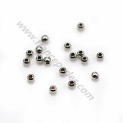 Pearl in shaped of ball, in 925 sterling silver rhodium, 2 * 0.8mm x 30pcs