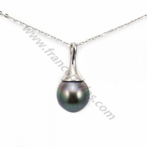 Pendant tahiti cultured pearl 9-10mm & sterling silver 925 x 1pc