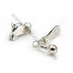 925 silver earring clip, to associated with pearl, 5 * 13mm x 2 pcs