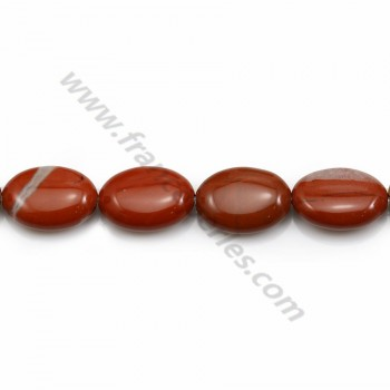 Jasper of red color, in oval shape, 10 * 14mm x 40cm