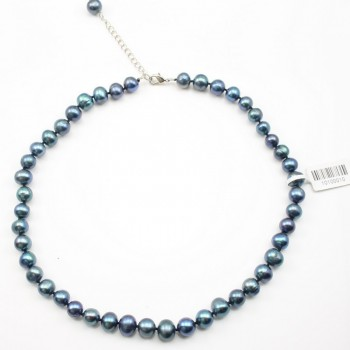 Simple Pearl Freshwater Tint Blue 10MM Necklace Mylene
