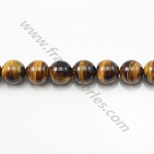 Yellow Tiger Eye Round 12mm x 40cm