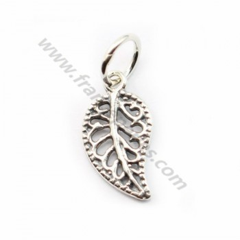 Sterling Silver 925  breloque leaf 7*17mm  with ring 5.5mmX 1 pc