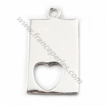 Sterling Silver 925 breloque Spacer heart 17 *11mm X 1  pcs