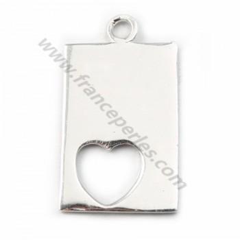 Argent 925 breloque rectangulaire coeur 17*11mm X 1 pcs