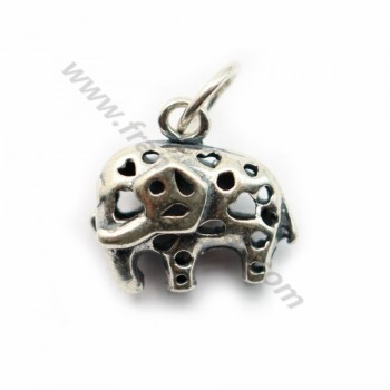 Sterling Silver 925 breloque elephent 12mm with ring 5.5mmX 1 pc