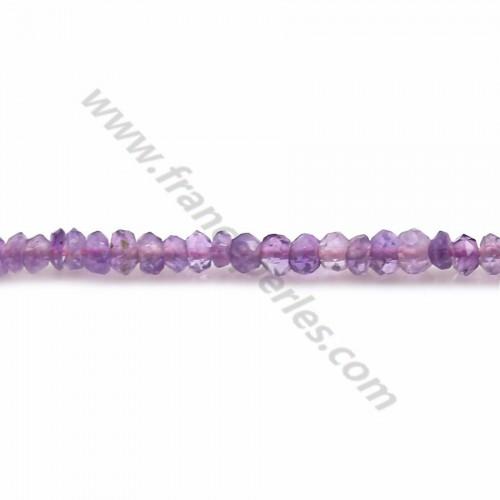 Améthyste violette, en forme de rondelle facetté, 2 * 2.7-3mm x 35cm