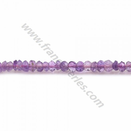 Purple amethyst, in shape of a faceted washer, 2 * 2.7-3mm x 35cm