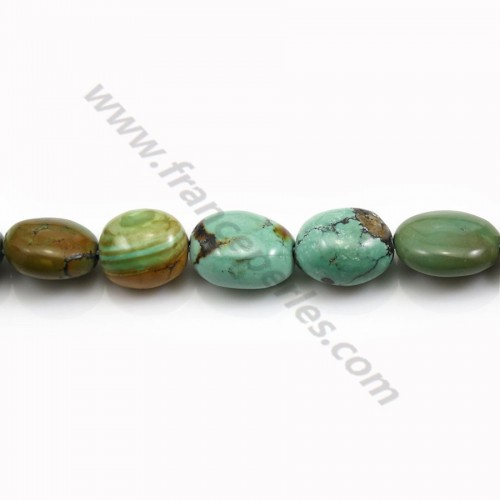 Turquoise natural, in oval shape, 11 - 14mm x 40cm