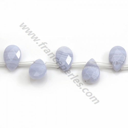 Blue chalcedony flat faceted drop 8*12mm x 40cm