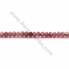 Pink tourmaline, in the shape of a faceted washer, 3 * 4mm x 39cm