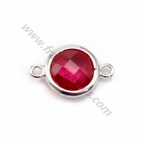 Spacer sterling silver 925 and  zirconium ruby round 9.5*14.5mm x 1pc
