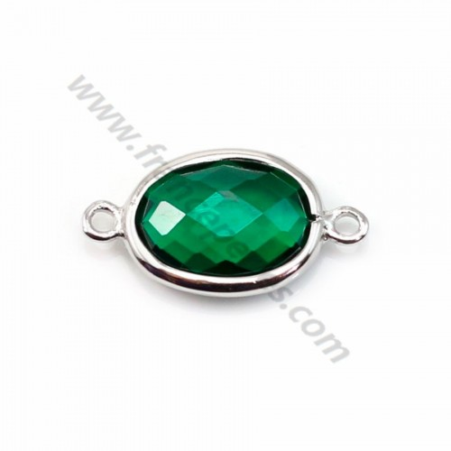 Spacer sterling silver 925 and  zirconium emerald 9.5*17.5mm x 1pc