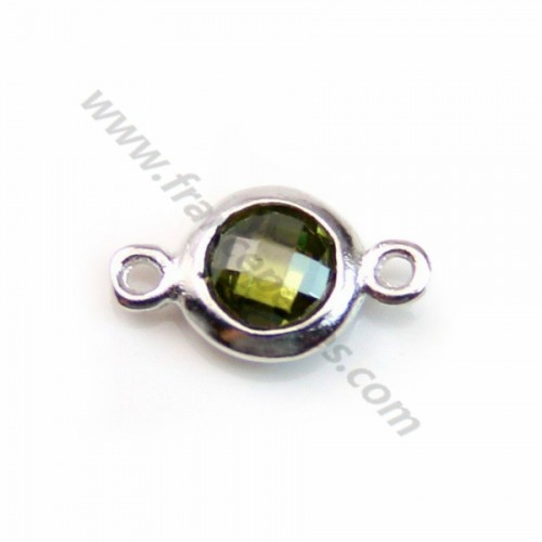Spacer sterling silver 925 and  zirconium green khaki 5*9mm x 1pc