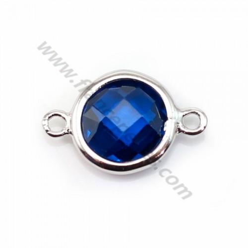 Spacer sterling silver 925 and  zirconium sapphire round 9.5*14.5mm x 1pc