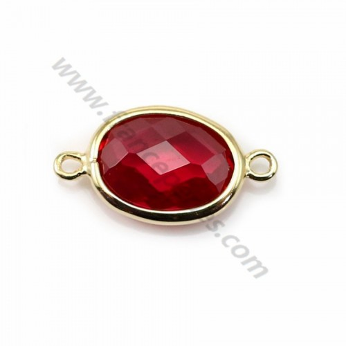 Spacer sterling silver 925 golden  and  zirconium ruby 9.5*17.5mm x 1pc