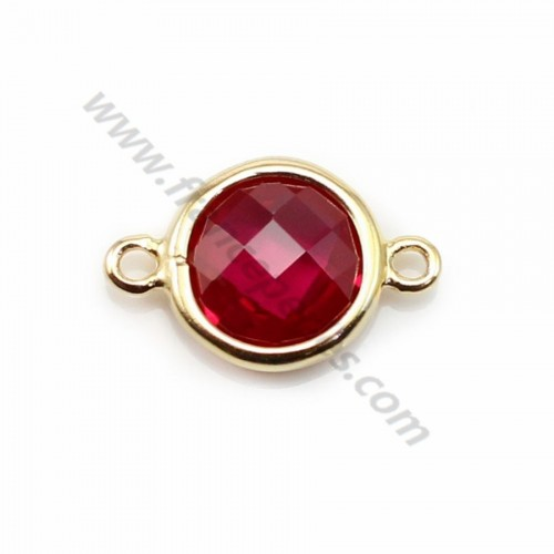 Spacer sterling silver 925 golden and  zirconium ruby round 9.5*14.5mm x 1pc